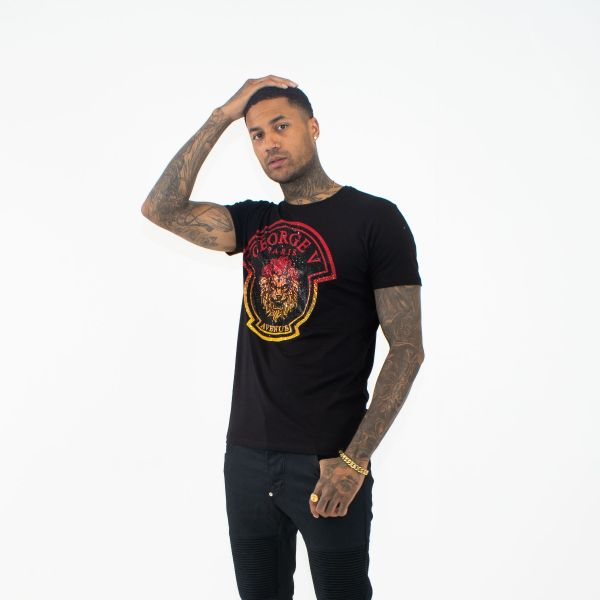 Black With Red Ombre Lion Head T-Shirt