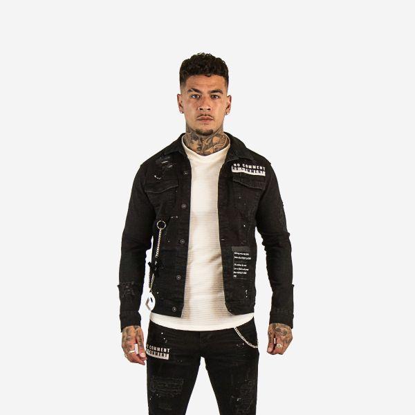 Black Printed Denim Jacket