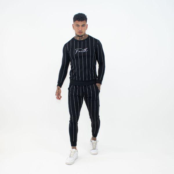 Black Stripe Sweatshirt & Joggers Set