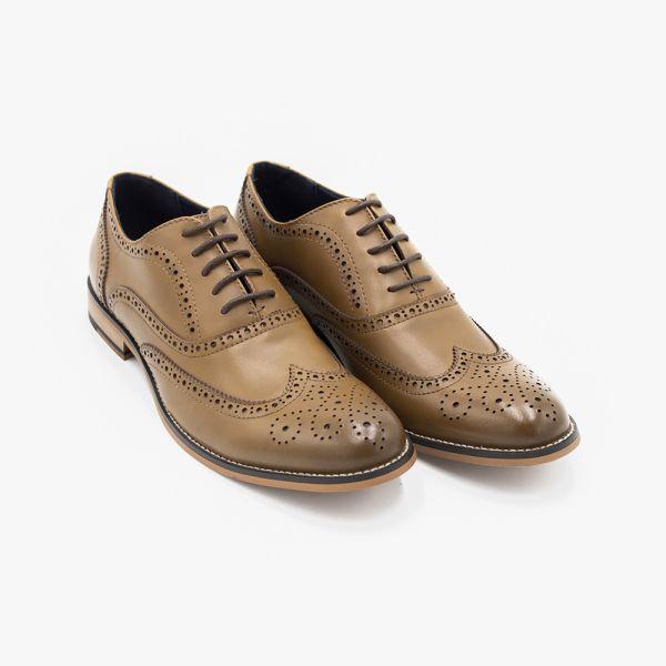 Oxford Tan Leather Brogue Shoe