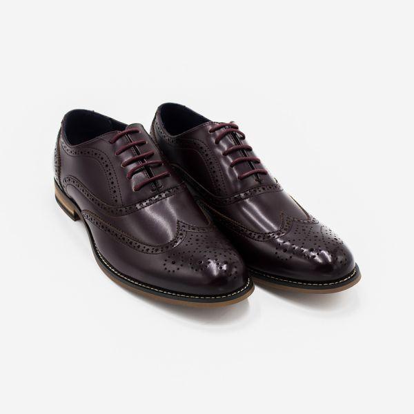 Oxford Wine Leather Brogue Shoe
