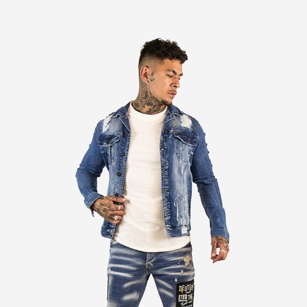 Blue Distressed Studded Denim Jacket