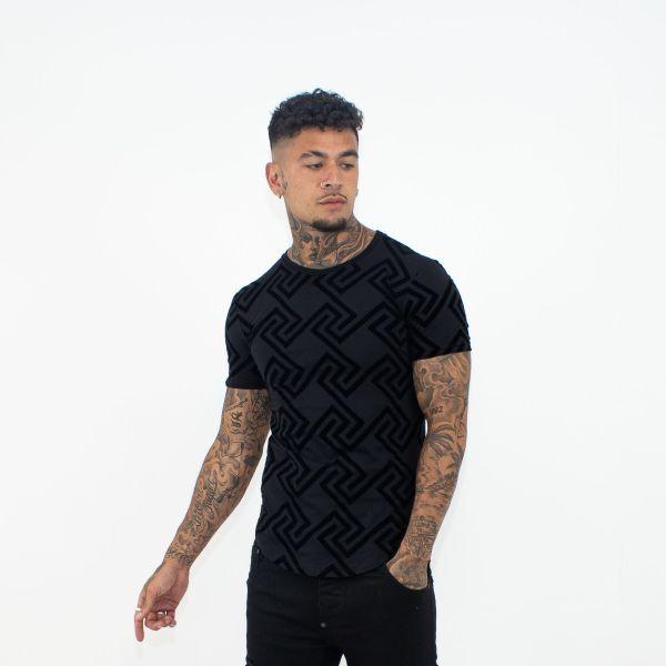 Black Enlarged Maze Design T-Shirt