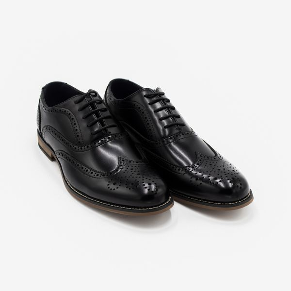 Oxford Black Leather Brogue Shoe
