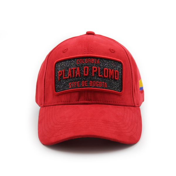 Red Suede Effect Colombia PLATA D PLOMO Inspired Cap