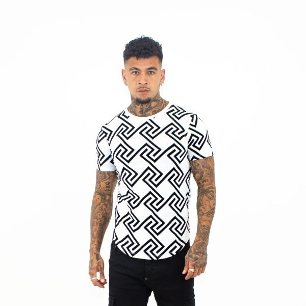 Black & White Enlarged Maze Print T-Shirt