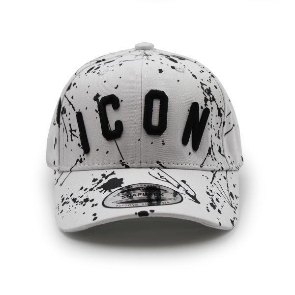 White Inspired Black Paint Splat Cap