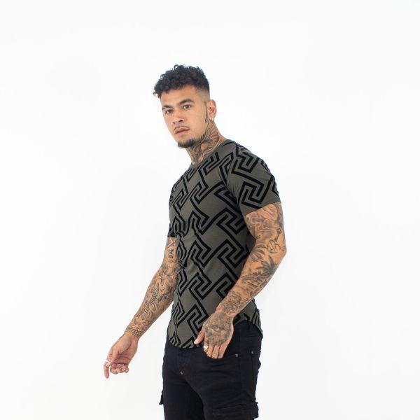 Black & Khaki Enlarged Maze Print T-Shirt
