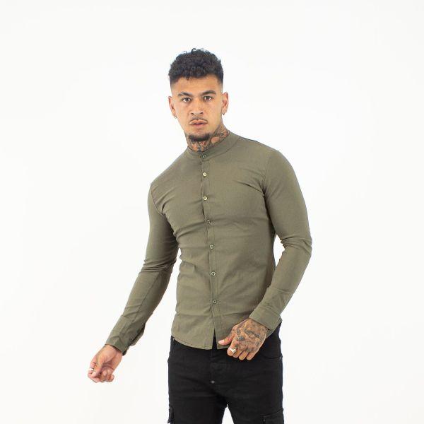 Khaki Collarless Shirt