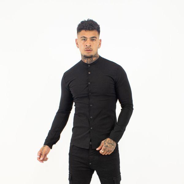 Black Collarless Shirt