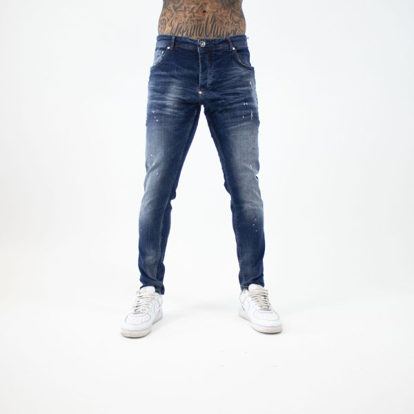Dark Blue Denim Jeans With White & Red Paint Splat