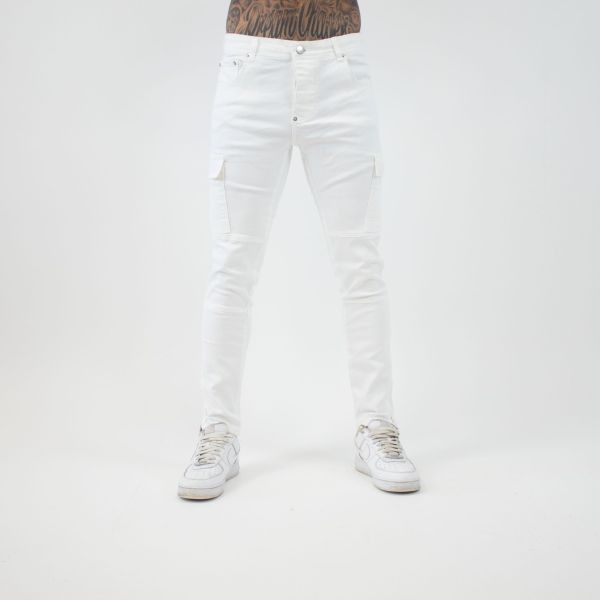 White Combat Style Skinny Jeans