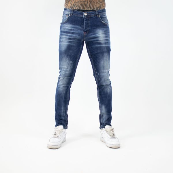 Blue With Red Paint Splat Jeans