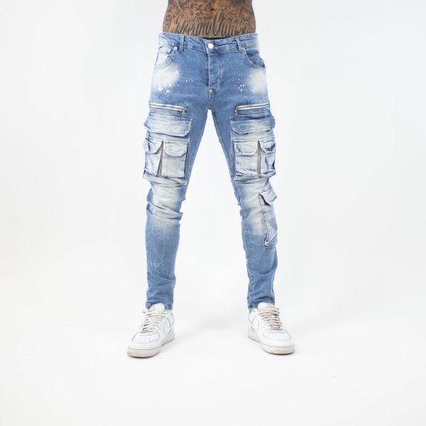 Blue Multi Pocket Denim Jeans