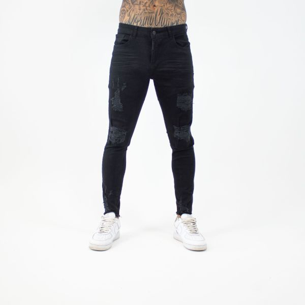 Black With Little Distress Frayed Ankle Jeans