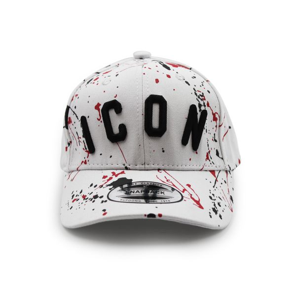 White Inspired Red And Black Paint Splat Cap