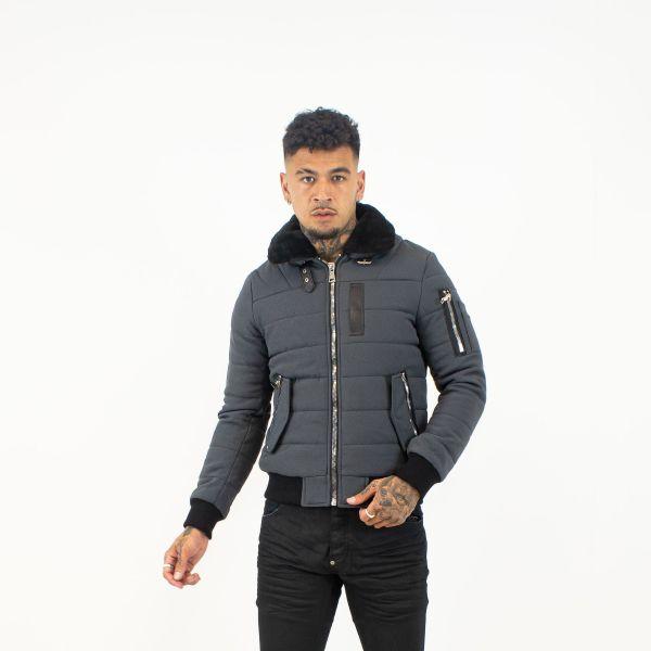 Grey Bomber Jacket With Fur Collar