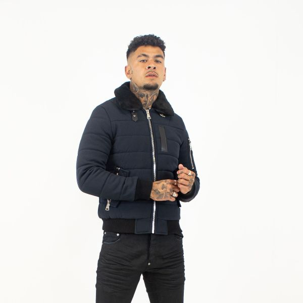 Navy Bomber Jacket With Fur Collar