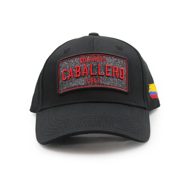 Black With Red Embroidering Colombia Caballero Inspired Cap