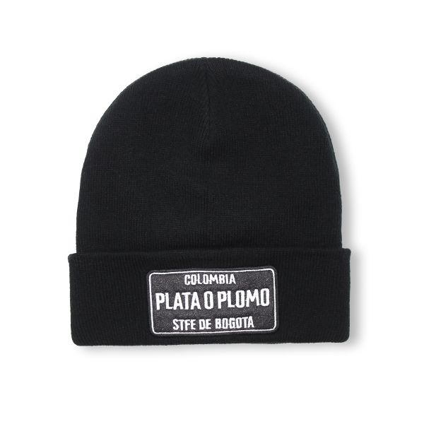 Black With White Embroidering Colombia PLATA O PLOMO Beanie Hat