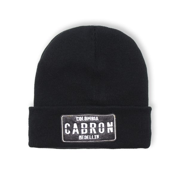 Black With White Embroidering Colombia CARBON Beanie Hat