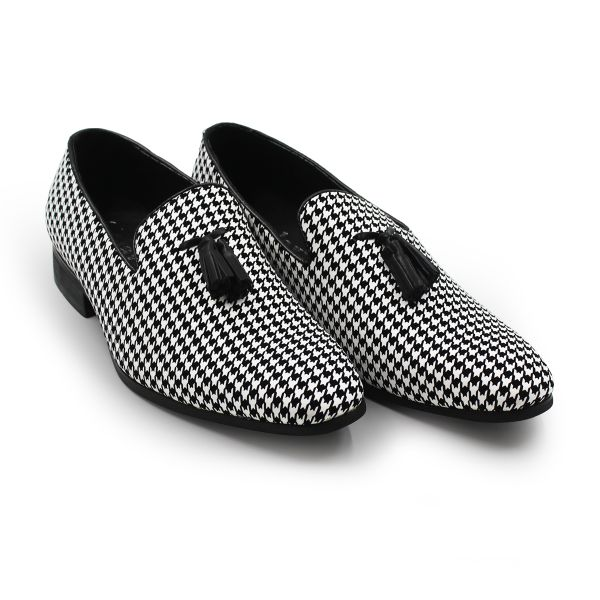 Black And White Patterned Galax Loafers