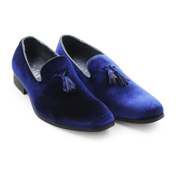 Royal Blue Velvet Effect Galax Loafers