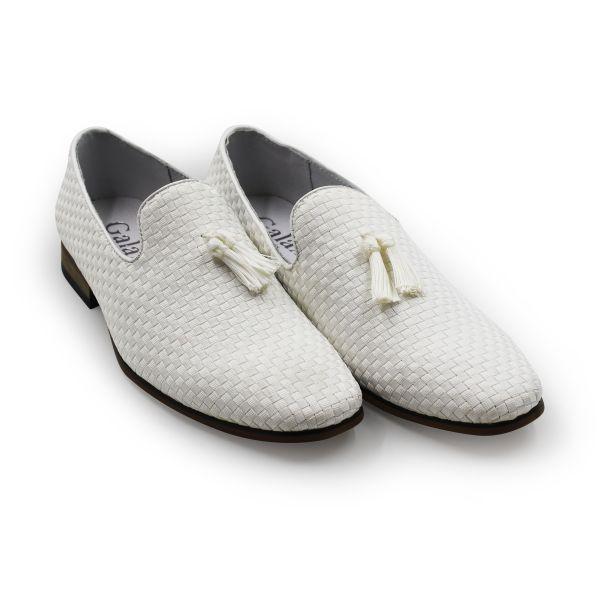 White Woven Slip-On Loafer With Tassel Detail