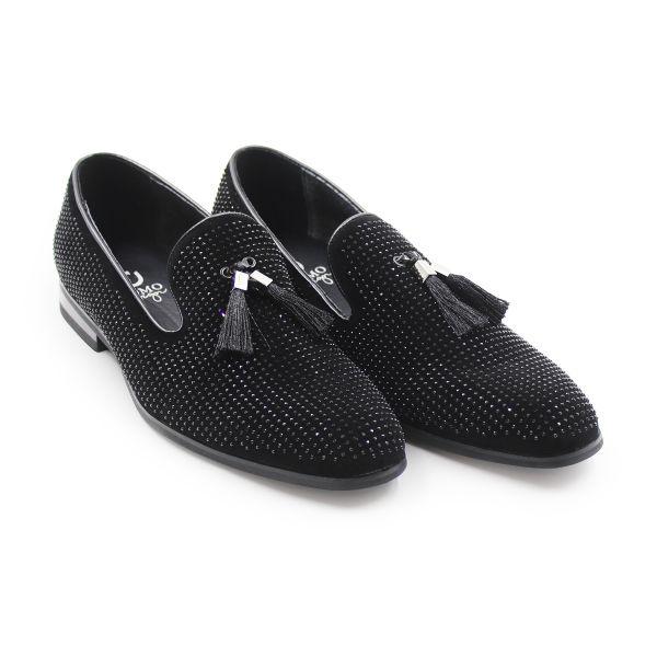 Uomo Black Diamonte Studded Loafers