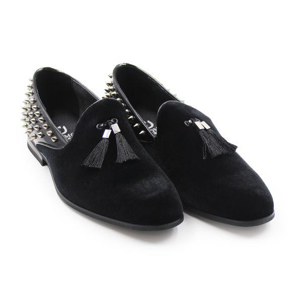 Uomo Black Studded Loafers