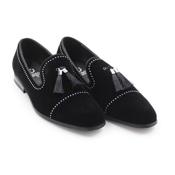 Uomo Black Mini Stud Loafers
