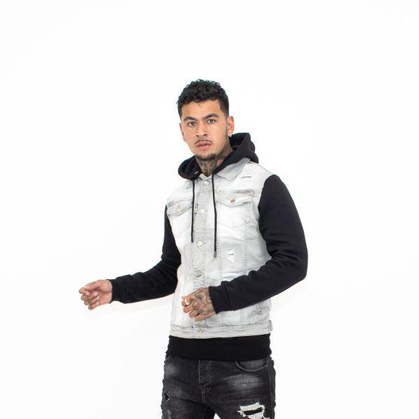 Grey Jersey Hooded Denim Jacket
