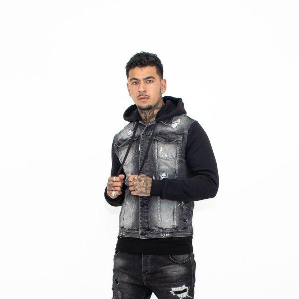 Black Patchwork Jersey Hooded Denim Jacket