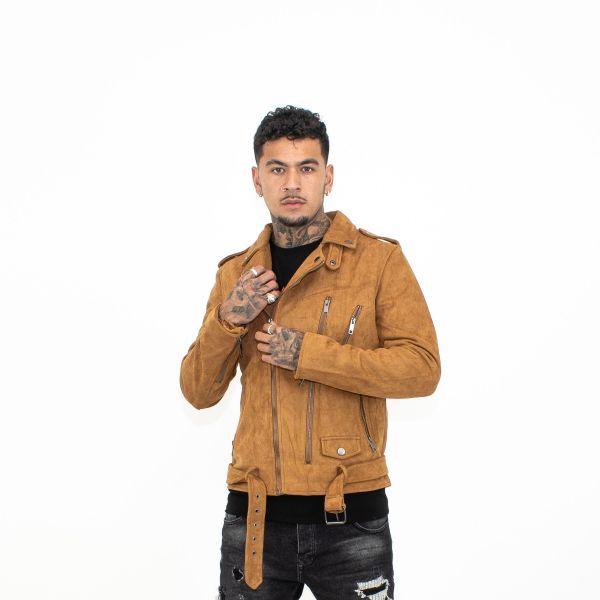 Camel Suede Biker Jacket