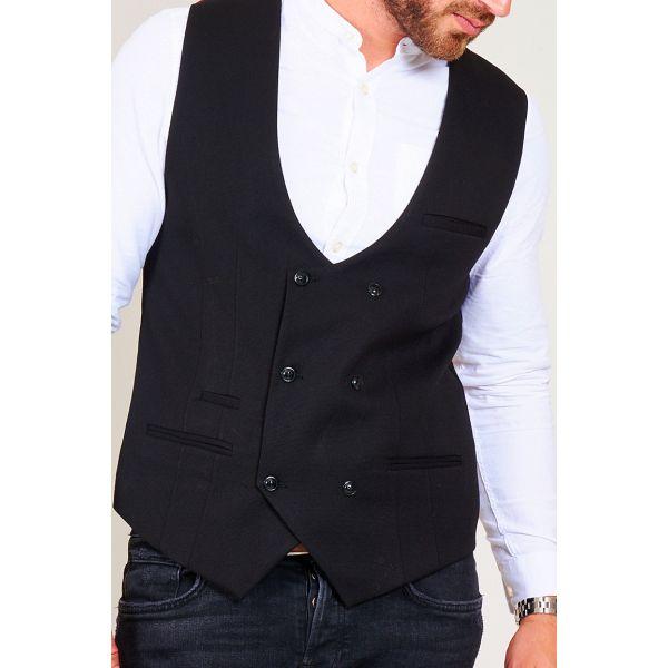 Marc Darcy Kelly Black Double Breasted Waistcoat