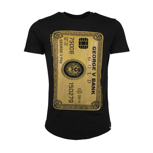 Black And Gold Card Diamonte Crew Neck T-Shirt