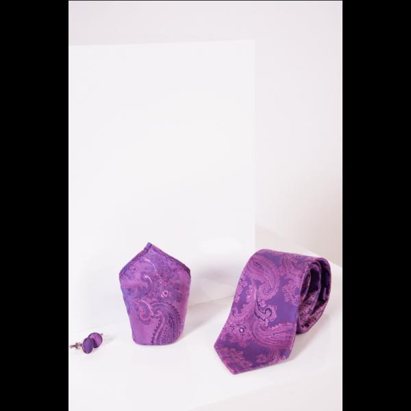Marc Darcy Purple Paisley Print Tie Set