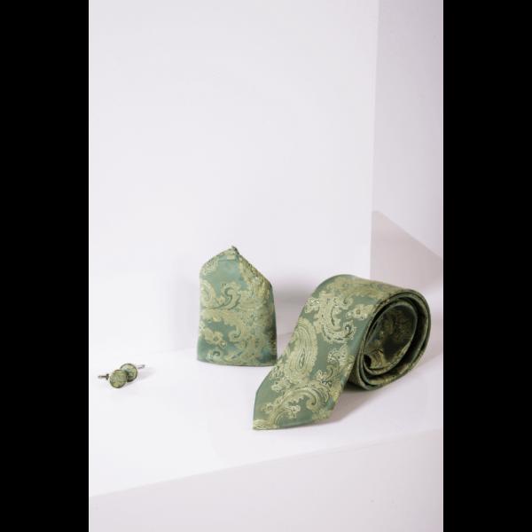 Marc Darcy Green Paisley Print Tie Set