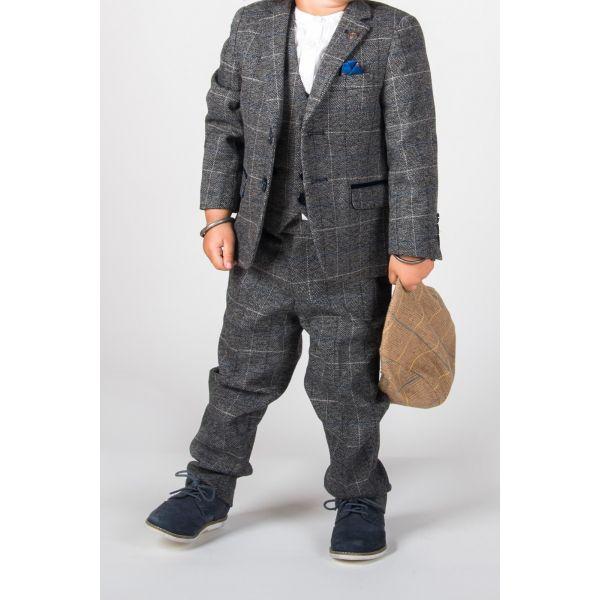 Marc Darcy Boys Scott Grey Check Suit