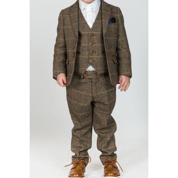 Marc Darcy Boys Ted Tan Tweed Check Suit