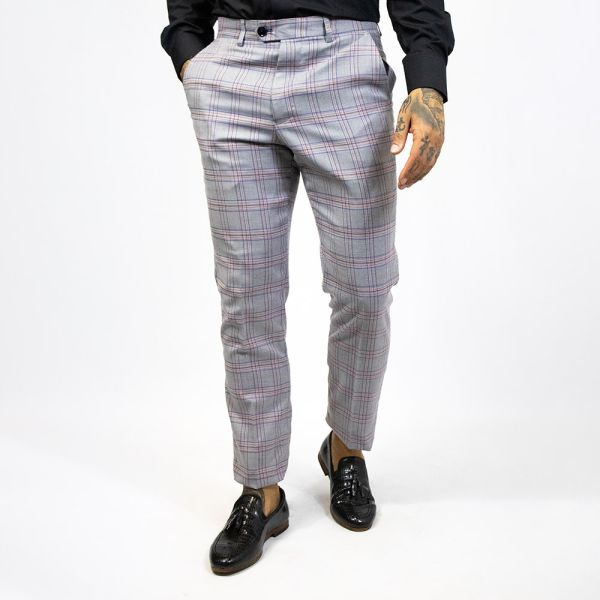 Marc Darcy Alvin Grey Checked Trouser
