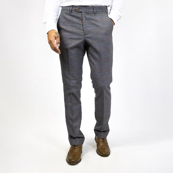 Marc Darcy Jenson Grey Check Trousers