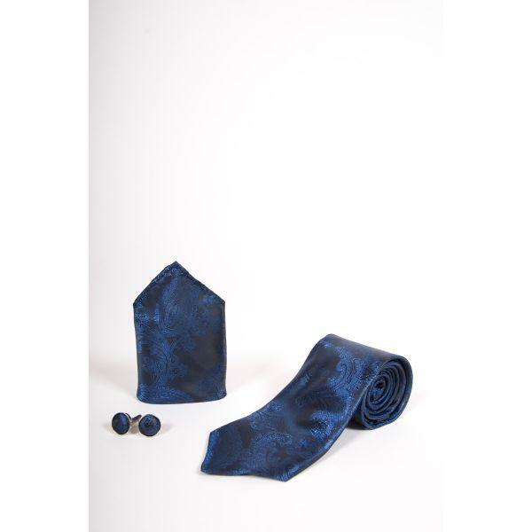 Marc Darcy Navy Paisley Print Tie Set