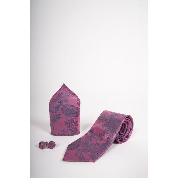 Marc Darcy Pink Paisley Print Tie Set