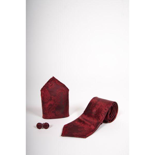 Marc Darcy Wine Paisley Print Tie Set