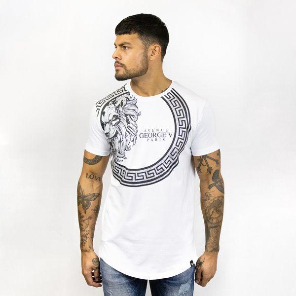 White Diamante Printed Crew Neck T-Shirt
