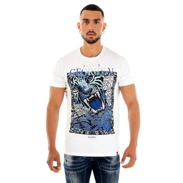 White and Blue Tiger Print T-Shirt