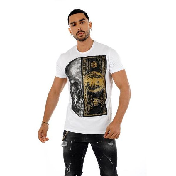White and Gold Skull and Dollar Print T-Shirt